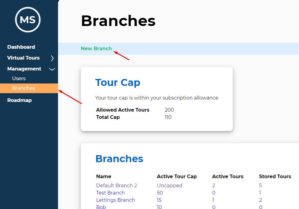 Virtual Tour Branch Management Page