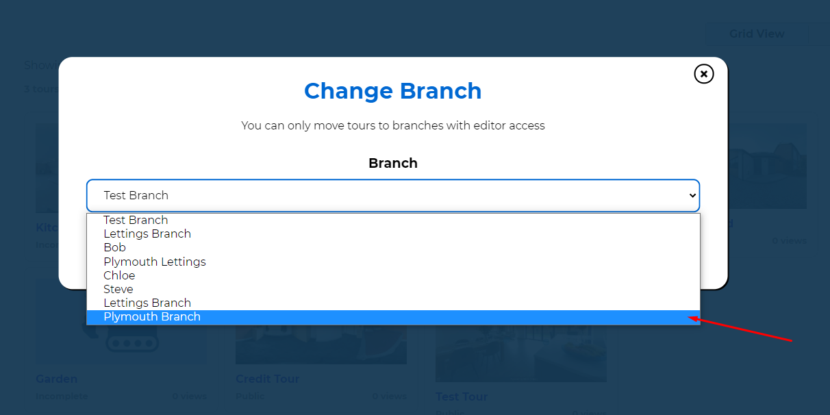 Virtual Tour Change Branch